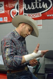A little time in the Justin Sportsmedicine Room and a lot of tape helped Joe Frost win over $14,000 at this year's San Antonio Stock Show Rodeo.